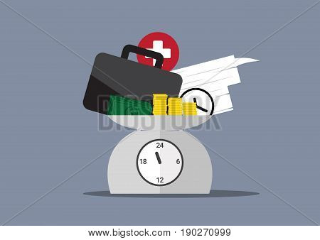 work overtime, work, money, time and health on day clock scales, work life above one day time scales, business balance concept, vector illustration