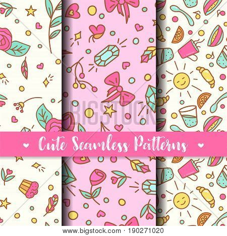 Cute Seamless Patterns. Prints for kids products. Cartoon kiddish backround. Vector Ilustration