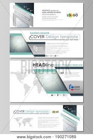 Social media and email headers set, modern banners. Business templates. Easy editable abstract design template, vector layouts in popular sizes. Genetic and chemical compounds. Atom, DNA and neurons. Medicine, chemistry, science or technology concept. Geo