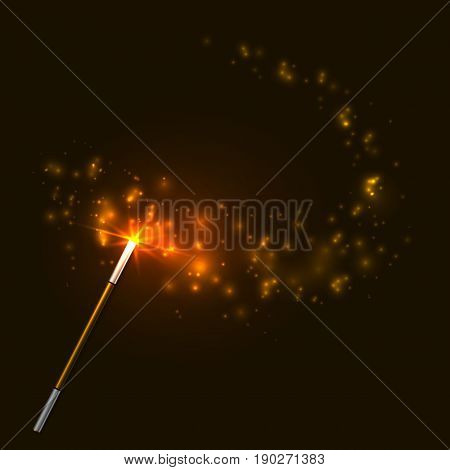 Vector golden magic wand with bright lights on dark brown background.