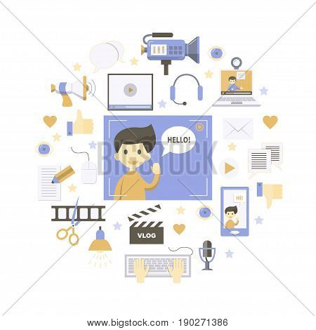 Videoblogging. Vector illustration for social media and modern communications. Concept for digital online blog, video marketing, blogger's work. Flat design.  Isolated on white.