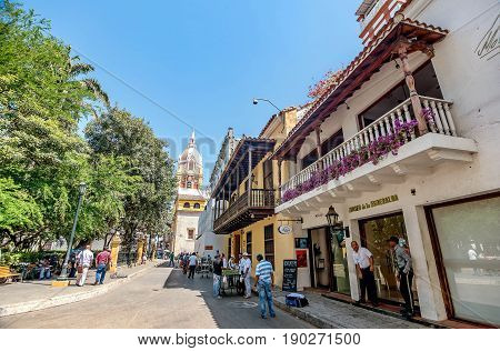 Cartagena, Colombia- March 2, 2017: Street and Cathedral in the old town Cartagena Colombia