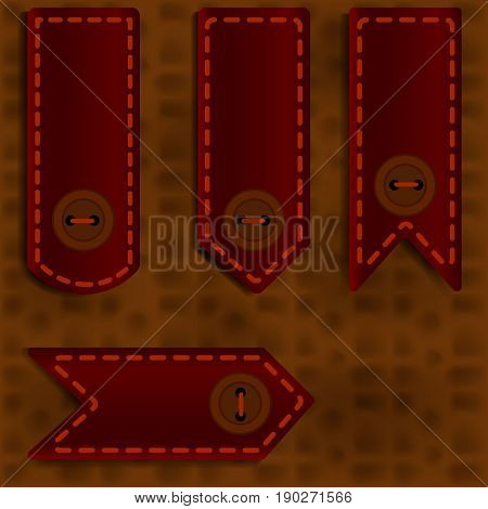 Bookmark with a button on a brown leather background
