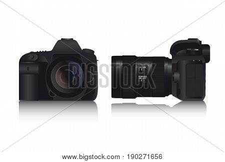 Realistic full frame professional photo camera DSLR with zoom lens and image stabilizer. Vector illustration.