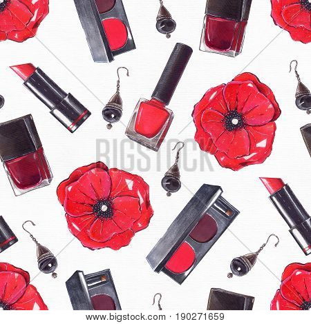 Fashion set hand drawn in bright colors with pencils and liner in red and black colors on white watercolor paper. Seamless pattern with beauty products nail polish rouge lipstick poppy flower.