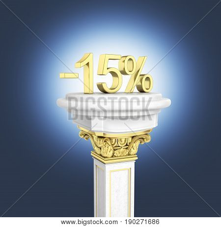 Gold Text 15 Percent Off Standing On The Pedestal Isolated On Dark Blue Background 3D Render