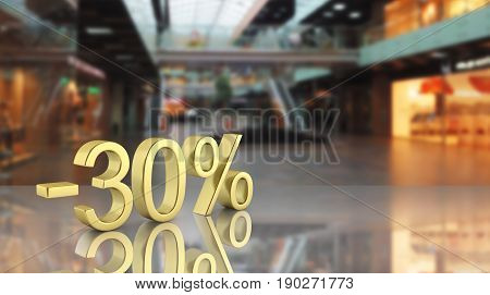Gold Text 30 Percent Off On Shopping Center Background With Reflection 3D Render