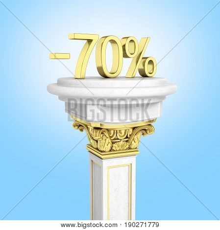 Gold Text 70 Percent Off Standing On The Pedestal Isolated On Blue Gradient Background 3D Render