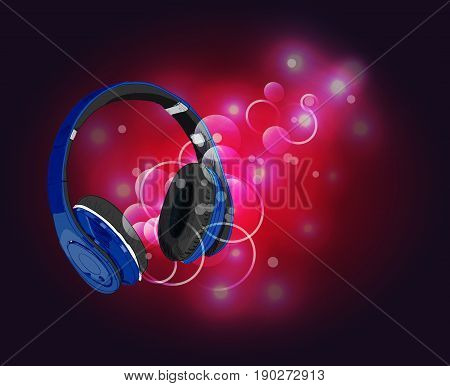 Headphones with magic of music. VECTOR illustration. Blue headphones and red abstract lights.