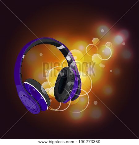Headphones with magic of music. VECTOR illustration. Purple headphones and yellow abstract lights.