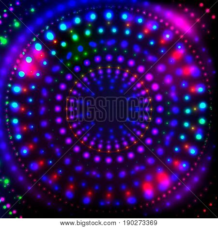Shining Neon Disco Background for Disco Banner.Neon Shining Dots, Colorful Neon Flares in form of circle.Colorful Abstract Cyber Background with Neon glowing Points, Shining Flares, Disco Night Concept.