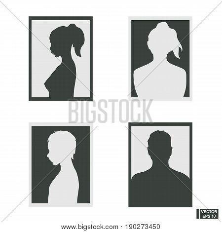 Set Of Silhouettes Men, Women
