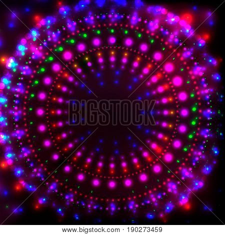 Shining Neon Disco Background for Disco Banner.Neon Round Tunnel of Neon Shining Dots, Colorful Flares.Colorful Abstract Cyber Background with Neon glowing Points, Shining Flares, Disco Night Concept.