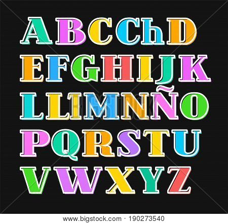 Spanish alphabet colorful letters, white outline, vector. Capital letters with serif on a black background. White outline is offset to the side.