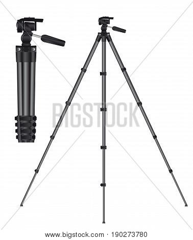 Realistic tripod for photo or movie camera. Vector illustration.