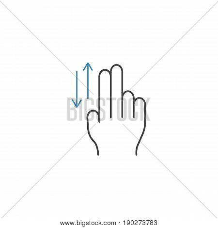 2 Finger up and down line icon, touch and hand gestures, vector graphics, a color linear pattern on a white background, eps 10.