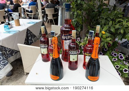 SIRMIONE ITALY - MAY 5 2016: Bottles of Campari Aperol and Prosecco in Sirmione Italy
