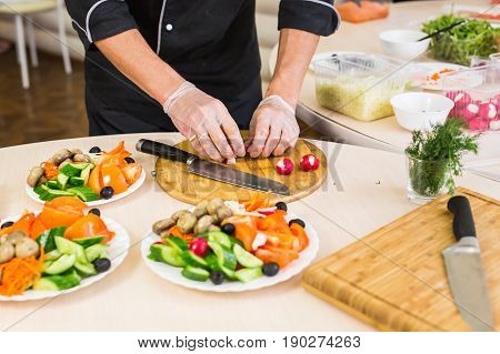chef cooking food kitchen restaurant cutting cook hands hotel man male knife preparation fresh preparing concept.