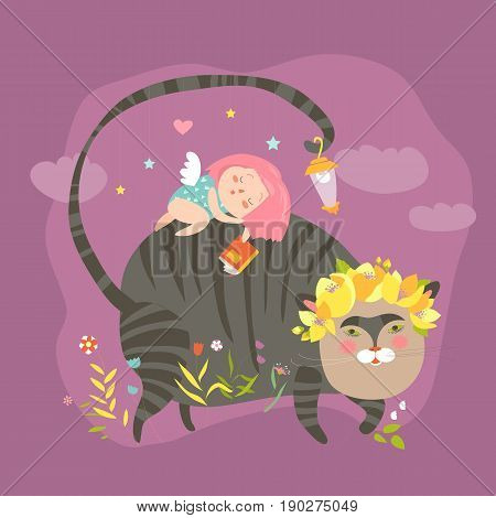 Dreaming girl with for magic cat. Vector illustartion