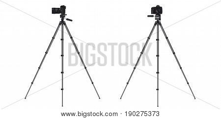 Realistic full frame professional photo camera DSLR with zoom lens and image stabilizer on tripod. Vector illustration.