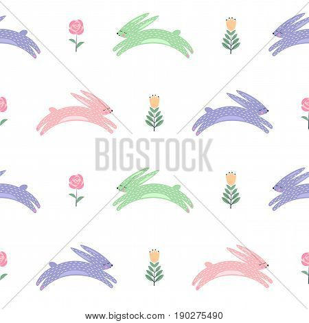 Easter bunny with spring flowers seamless pattern. Cute scandinavian style holiday background. Cartoon baby rabbit illustration. Easter design for textile, fabric, decor.