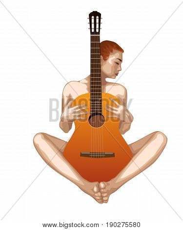 Naked beautiful girl with guitar on a white background. Vector drawing.