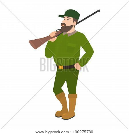 Vector illustration of a cartoon hunter in green uniform with a hunting rifle. Isolated white background. Flat style.