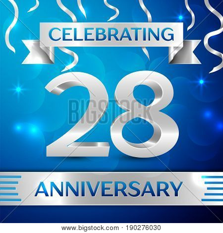 Twenty eight Years Anniversary Celebration Design. Confetti and silver ribbon on blue background. Colorful Vector template elements for your birthday party. Anniversary ribbon