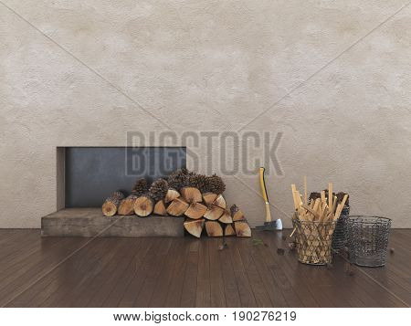 Small inset fireplace with dried logs and kindling in an interior texture wall of a home with wood floor and copy space. 3d rendering