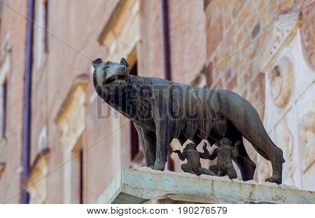 Capitol wolf with the founders of Rome Romulus and Remus. The symbol of Rome and Italy.