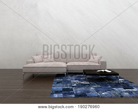 Large generic modular couch in a minimalist living room interior with a small blue rug on the wooden floor and textured neutral wall with copy space. 3d rendering