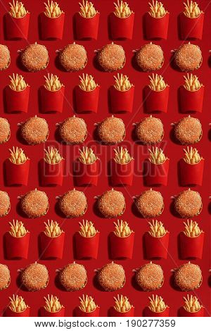 Close Up to French Fries and Burgers, High Calorie Junk Food, Background. Pattern