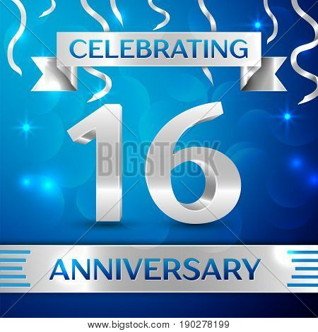 Sixteen Years Anniversary Celebration Design. Confetti and silver ribbon on blue background. Colorful Vector template elements for your birthday party. Anniversary ribbon