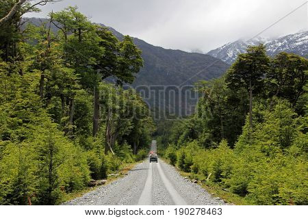 Van driving on Carretera Austral, on the way to Villa O'Higgins, Patagonia, Chile