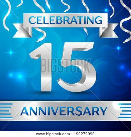 Fifteen Years Anniversary Celebration Design. Confetti and silver ribbon on blue background. Colorful Vector template elements for your birthday party. Anniversary ribbon
