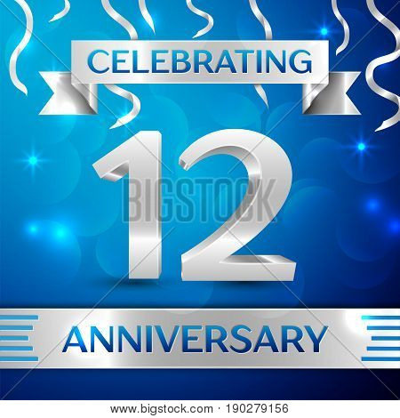 Twelve Years Anniversary Celebration Design. Confetti and silver ribbon on blue background. Colorful Vector template elements for your birthday party. Anniversary ribbon