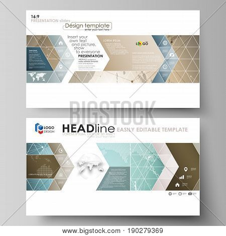The minimalistic abstract vector illustration of the editable layout of high definition presentation slides design business templates. Chemistry pattern with molecule structure. Medical DNA research