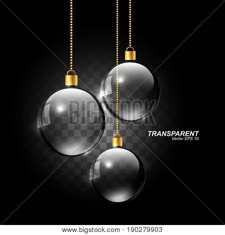 Transparent realistic glass sphere, Hanging Christmas glass ball, vector illustration