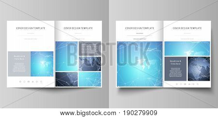 The minimalistic vector illustration of the editable layout of two A4 format modern covers design templates for brochure, flyer, report. Abstract global design. Chemistry pattern, molecule structure