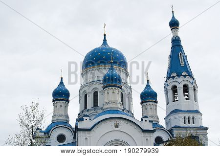 Dome of intercession Cathedral on the background of cloudless sky.