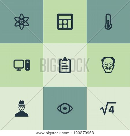 Vector Illustration Set Of Simple Science Icons. Elements Administration, Thermometer, Checklist And Other Synonyms List, Thermometer And Physics.