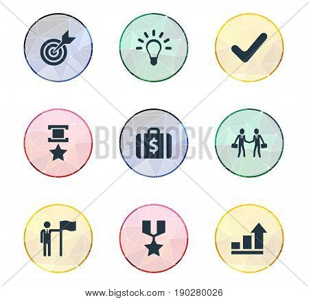 Vector Illustration Set Of Simple Success Icons. Elements Attainment, Hero, Innovation And Other Synonyms Hero, Correct And Idea.