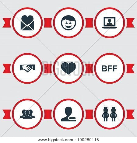 Vector Illustration Set Of Simple Buddies Icons. Elements Bff, Merry, Remove User And Other Synonyms Friend, Forever And Mail.