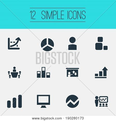 Vector Illustration Set Of Simple Seminar Icons. Elements Analytics, Segment, Construction And Other Synonyms Pie, Coach And Seminar.