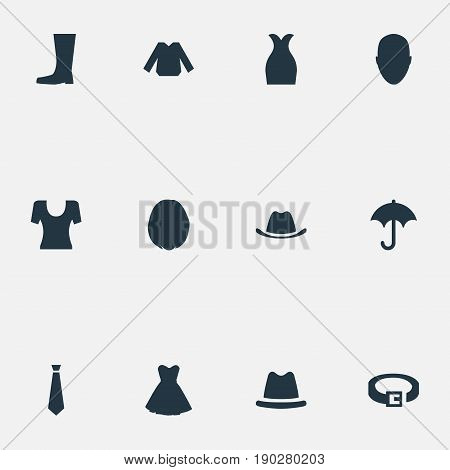 Vector Illustration Set Of Simple Garments Icons. Elements Head Accessory, Brolly, Headpiece And Other Synonyms Autmn, Head And T-Shirt.