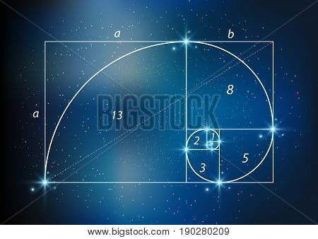 Golden section (ratio, divine proportion) and golden spiral on starry sky, vector transparent