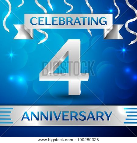 Four Years Anniversary Celebration Design. Confetti and silver ribbon on blue background. Colorful Vector template elements for your birthday party. Anniversary ribbon