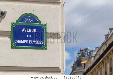 Street sign of the famous Champs-Elysees in Paris, France