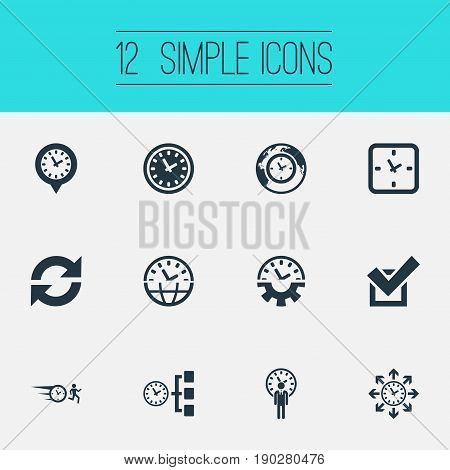 Vector Illustration Set Of Simple Management Icons. Elements Approve, International, Arrows And Other Synonyms Businessman, Universal And Director.