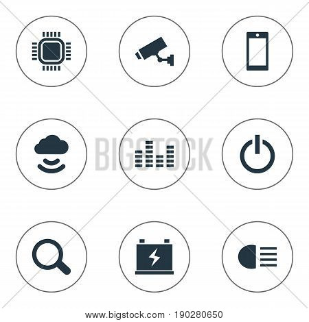 Vector Illustration Set Of Simple Hitech Icons. Elements Accumulator, Cctv, Smartphone And Other Synonyms Signal, SEO And Volume.
